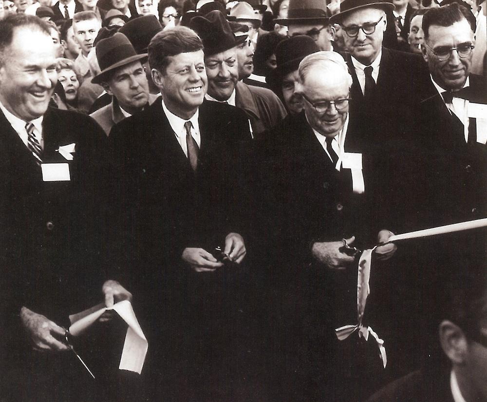 President John F. Kennedy and Maryland Gov. J Millard Tawes at 1963 ribbon cutting for I-95 photo by Md. DOT Timothy Hyman