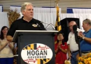 Hogan pledged to stop oyster replenishment project on Choptank River at campaign rally with watermen. Star Democrat photo