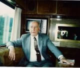Maryland Governor William Donald Schaefer served two terms as Comptroller of Maryland after serving as Governor.  Schaefer is shown inside the bus he used to travel the state. THE CHESAPEAKE TODAY photo