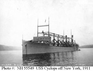 The USS Cyclops shown off of New York, vanished in the Atlantic after taking a load of coal from Norfolk to the fleet in Brazil.  The wreck has never been found and the last report was that the ship was near the Bahamas in the Bermuda Triangle.