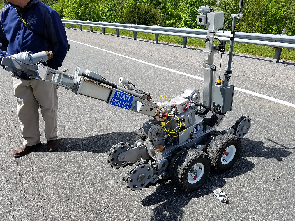 The Virginia State Police Bomb Squad Robot deployed on Highway 58 in Lee County, Va. on May 7, 2016 for a pipe bomb lost by a mad bomber on the roadside.  Police want to return the bomb to its owner.