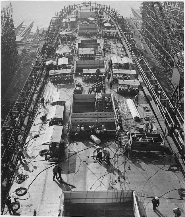 Day seven of the ten days it took to build the Liberty Ship SS Joseph N. Teal by the Oregon Shipbuilding Corporation, run by Henry Kaiser. Sept 19, 1942