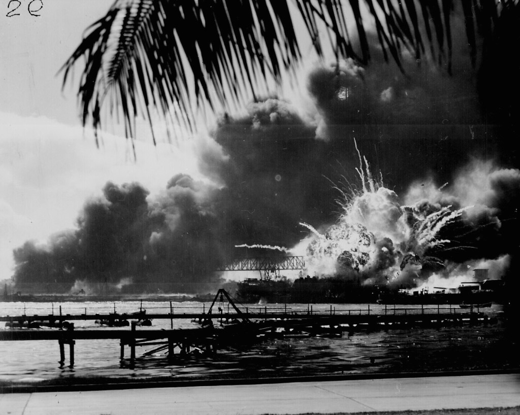 USS SHAW exploding during the Japanese raid on Pearl Harbor. December 7, 1941. 80-G-16871.
