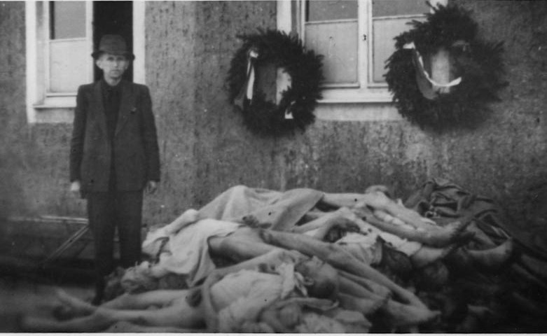 View of the crematorium V. This photo is from the Buchenwald Concentration Camp, Germany. 1945