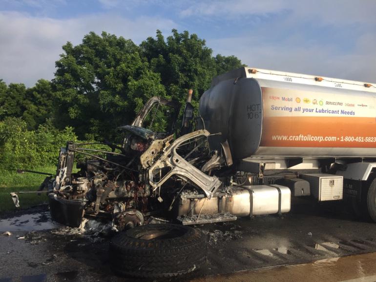 Burned truck cab fire Bear Del 080616
