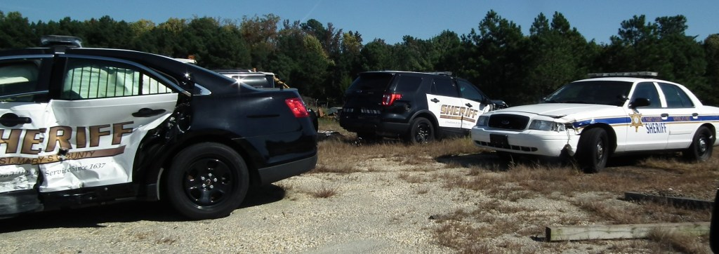 Sheriff-Cameron-hid-the-wrecked-police-car-behind-this-collection-of-crashed-cruisers-at-the-vehicle-maintenance-facility-in-California-Md.-THE-CHESAPEAKE-TODAY-photo.