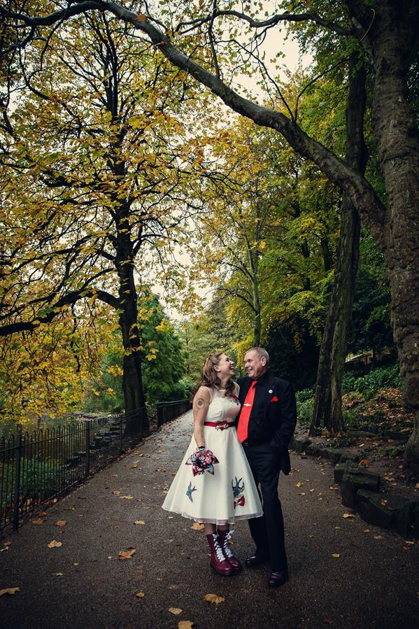 Saras tattoo inspired alternative wedding dress rocked with Doc Martins  The Couture Company
