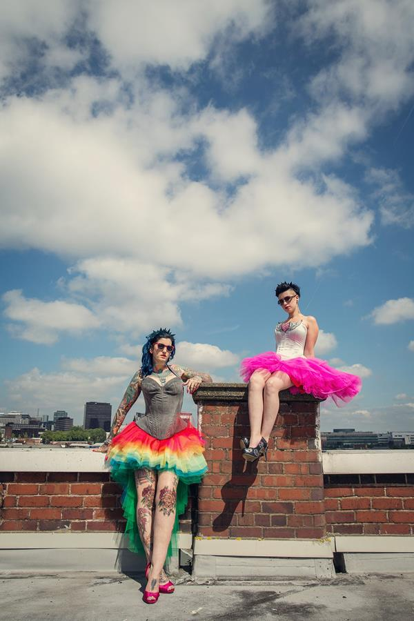 Hot hot HOT Schmokin sizzling alternative wedding roof top shoot  The Couture Company