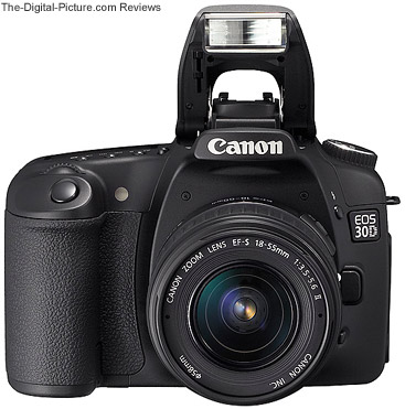 Canon EOS 30D Digital SLR Camera Front View with Flash Up