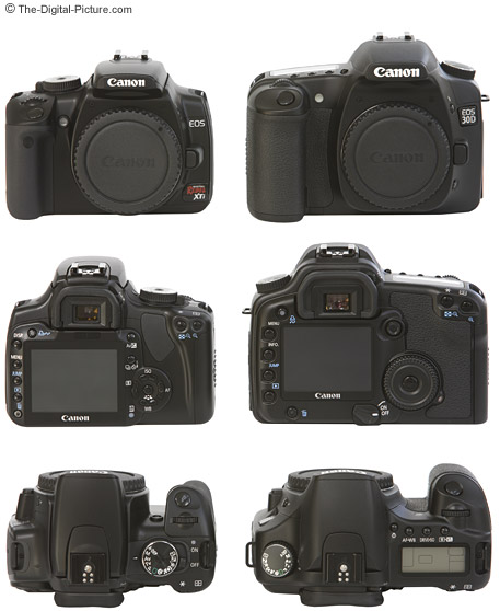 Canon EOS 400D Digital Rebel XTi Compared to EOS 30D - Front