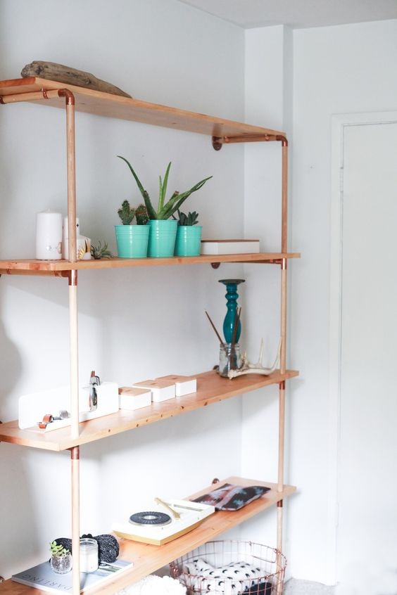 copper and wood shelf