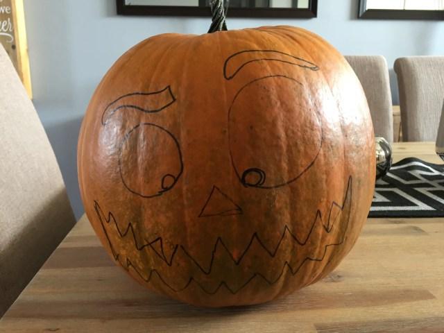 draw your design onto the pumpkin
