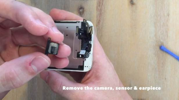 remove the camera, sensor and earpiece