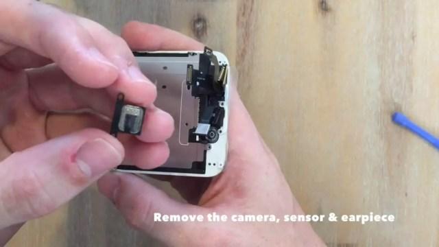 remove the camera, sensor and earpiece