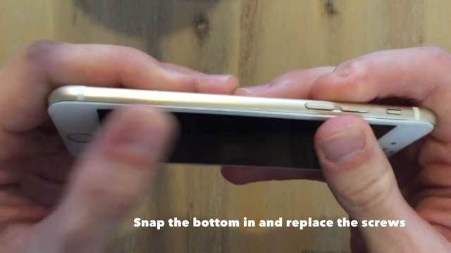 snap the bottom into place and replace the screws