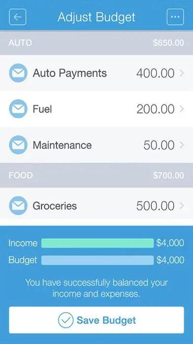 mvelopes organisation app