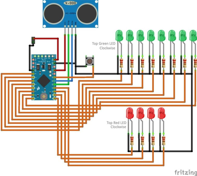 arduino parking assistant circuit