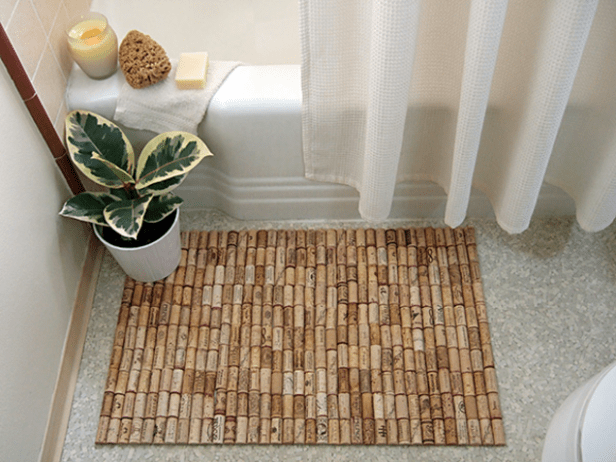 make a cork bath mat