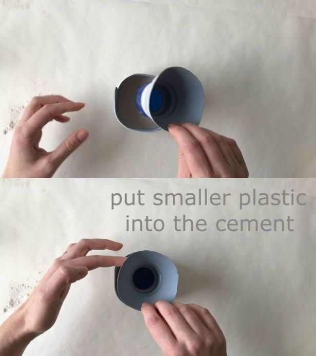 put smaller plastic insert into the cement