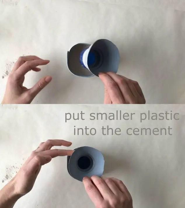 put smaller plastic insert into the cement