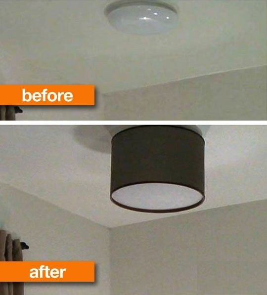 replace your old ceiling light with a lampshade