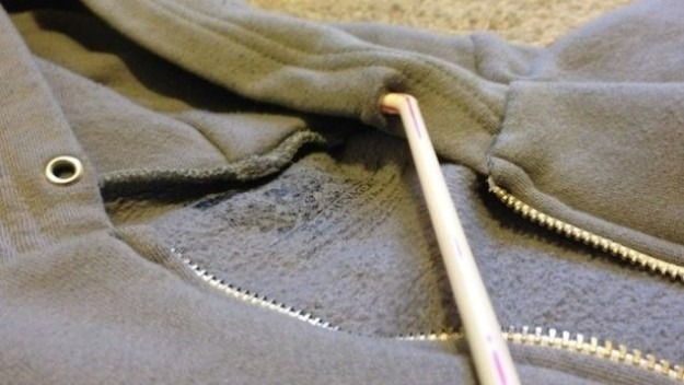 staple the hoodie cord to a straw