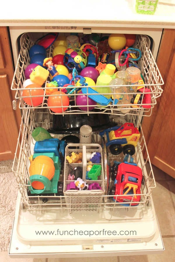 Clean kids toys in the dishwasher