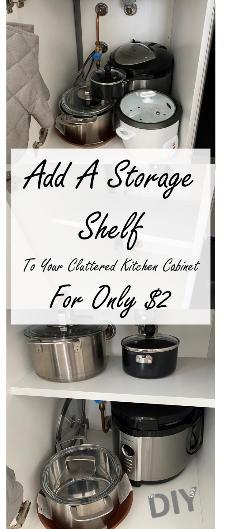 How To Add An Extra Storage Shelf To Your Cluttered Kitchen Cabinet For $2
