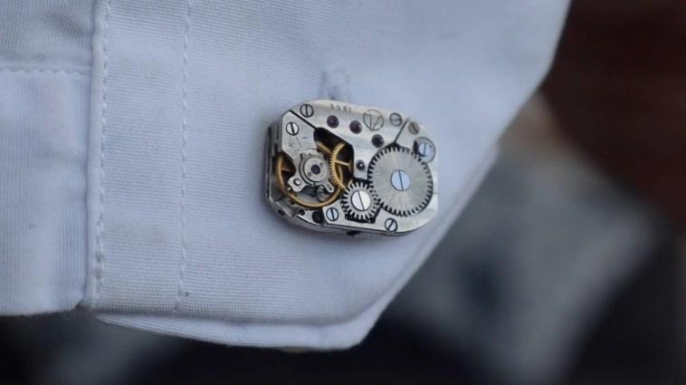 Mechanical Watch Movement Cufflinks on Shirt