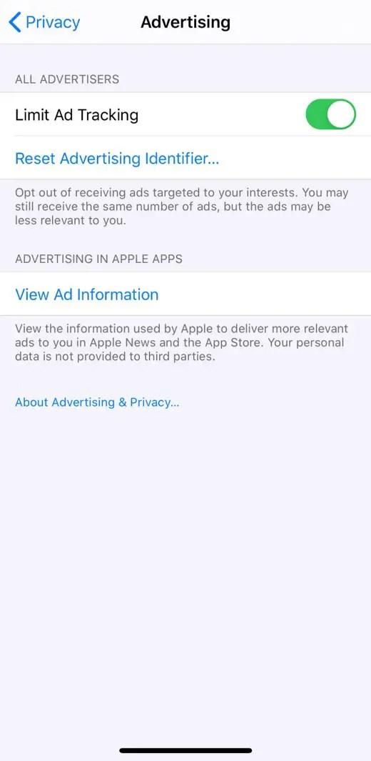 Limit Advertising Tracking