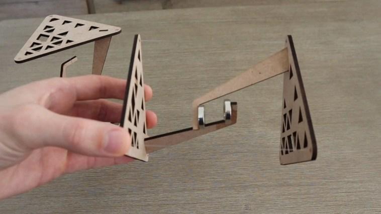 Magnetic Table Held Up Sideways