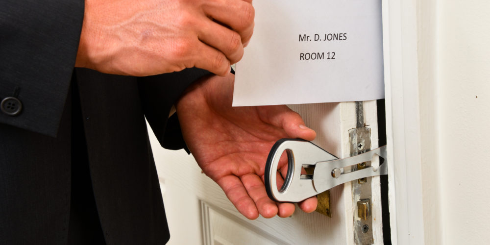 The lightweight easy to install strong temporary door lock