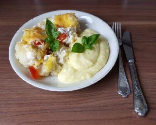 Veganer Kartoffelauflauf mit Kartoffelbrei