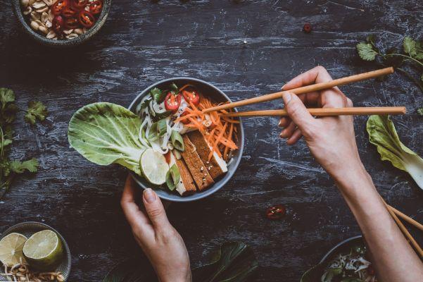 Reisnudeln mit Pak Choi in Kokosmilch, vegan und glutenfrei