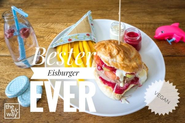 Veganer Eisburger mit Beeren-Ketchup und Schoko-Mayo, dazu Mango-Pommes