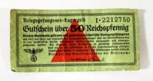 שטר ממחנה שבויים נאצי. על סך 50 פניג (Pfennig) אישתר בית מכירות פומביות החל מ 40 דולר