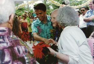 President Hunter at the Polynesian Cultural Center