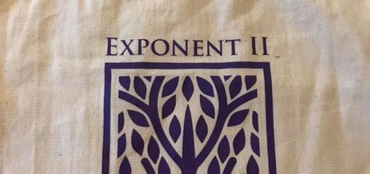 Exponent II Celebrating 45 years tote bag, natural canvas with purple straps and printing