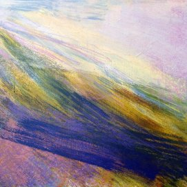 Below Mid Hill, Luss is an abstract painting by Keith Salmon, a visually impaired artist. Various shades and intensities of pinks, blues, greens, and yellows are blended together in a diagonal pattern.