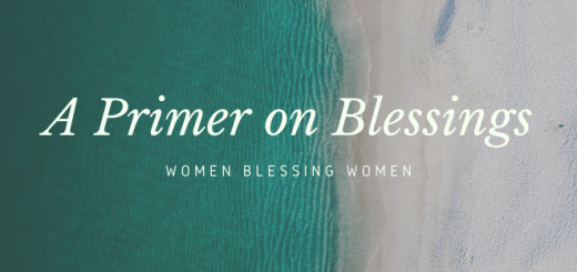 "Image of the ocean meeting a beach with the text ""A Primer on Blessings: women blessing women."""
