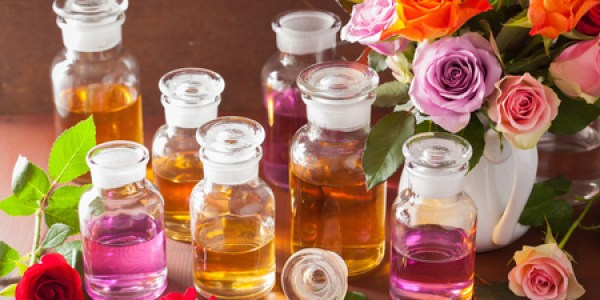 image of essential oils with roses