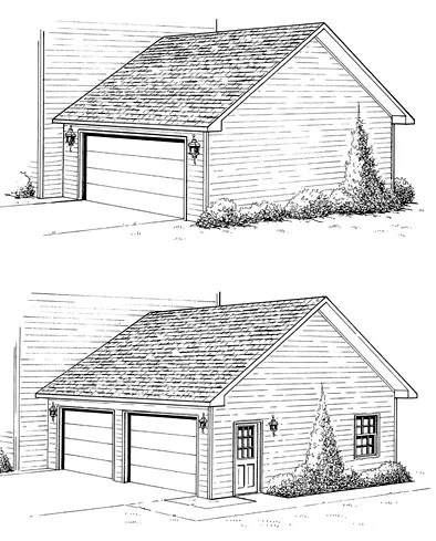 Construction drawings showing two garage options