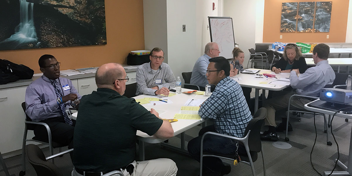 client workshop to create ideas to solve a business challenge