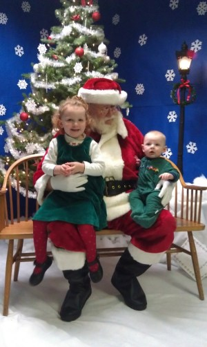 Hope and Luke with Santa