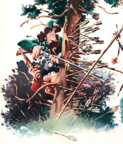 Capitan Rogers attaccato dagli indiani in un disegno di Giorgio Cavazzano