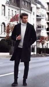 άσπρο πουλόβερ πλεκτό μαύρο παντελόνι μαύρο παλτό καθημερινά outfits κομψός
