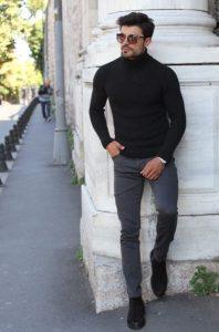 μαύρο πλεκτό ζιβάγκο γκρι παντελόνι