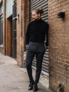 μαύρο ζιβάγκο γκρι παντελόνι καθημερινά outfits κομψός