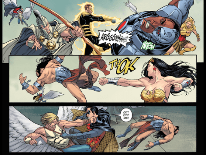 The Justice League fight the gods