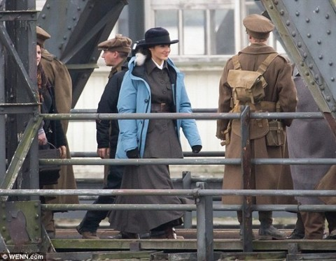 Gal Gadot on set in WWI
